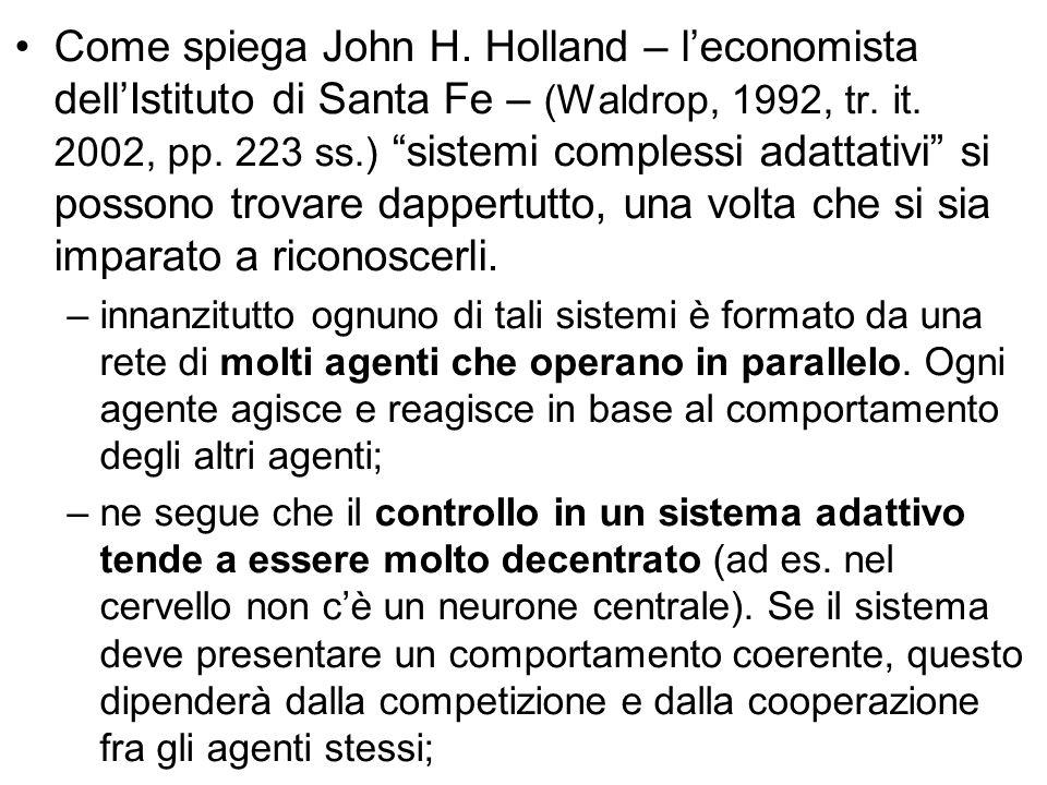 """Come spiega John H. Holland – l'economista dell'Istituto di Santa Fe – (Waldrop, 1992, tr. it. 2002, pp. 223 ss.) """"sistemi complessi adattativi"""" si po"""