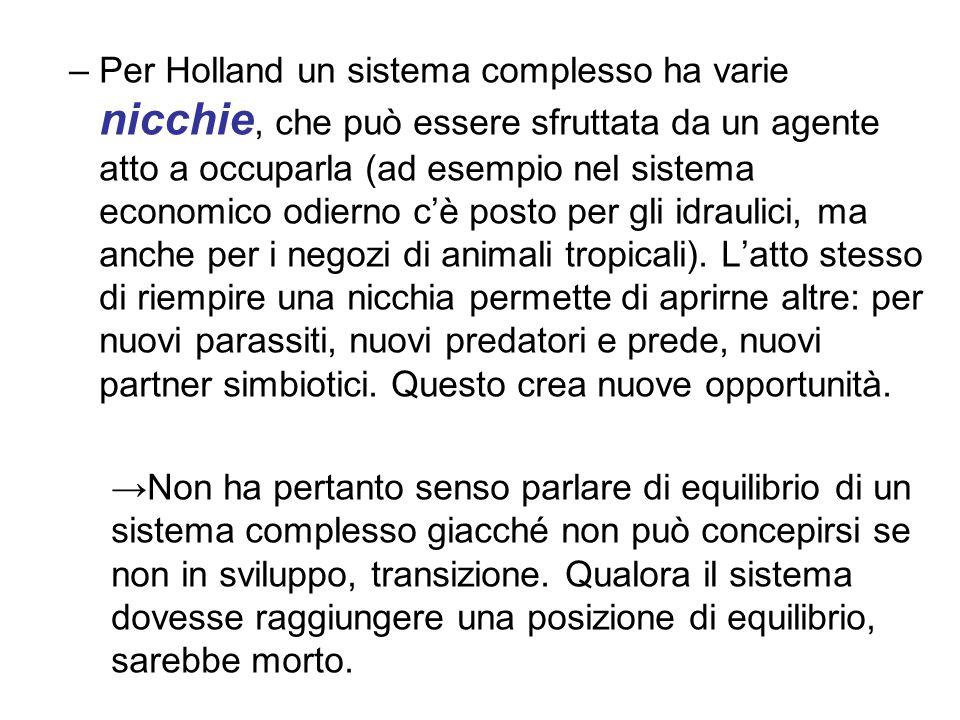 –Per Holland un sistema complesso ha varie nicchie, che può essere sfruttata da un agente atto a occuparla (ad esempio nel sistema economico odierno c