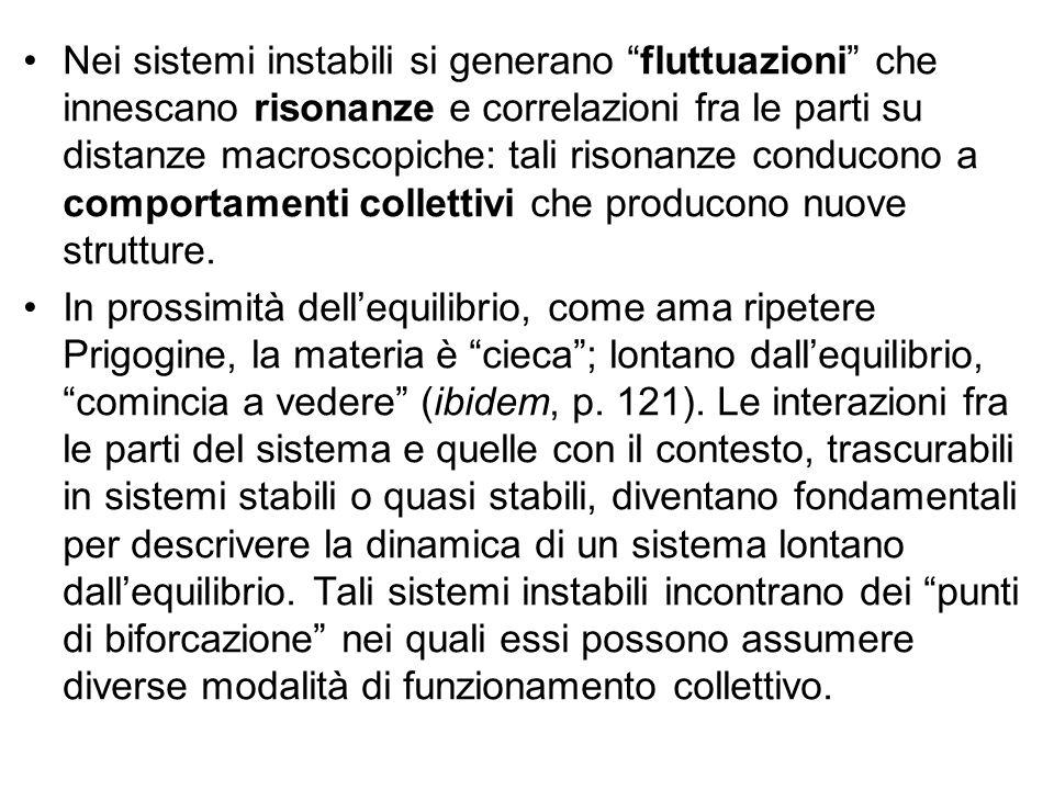 """Nei sistemi instabili si generano """"fluttuazioni"""" che innescano risonanze e correlazioni fra le parti su distanze macroscopiche: tali risonanze conduco"""