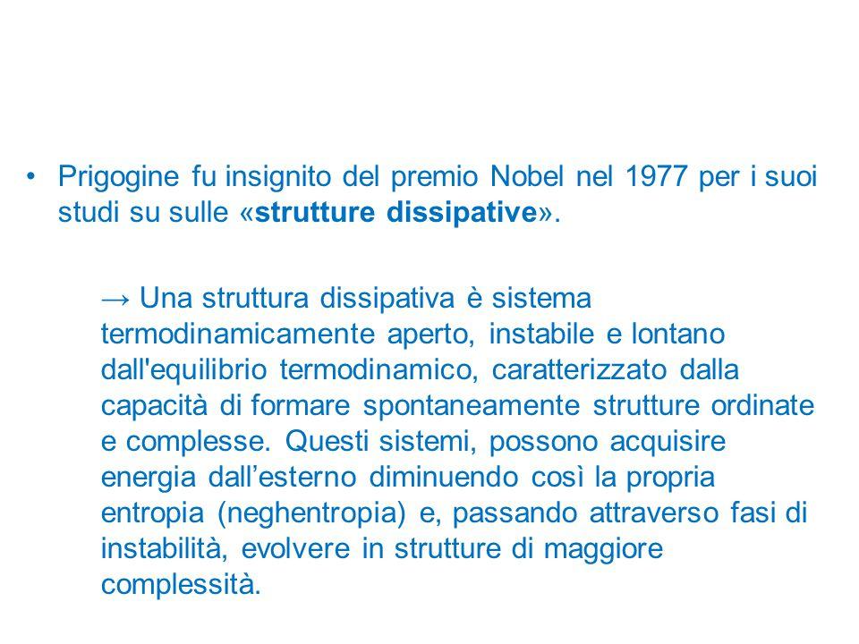 Prigogine fu insignito del premio Nobel nel 1977 per i suoi studi su sulle «strutture dissipative». → Una struttura dissipativa è sistema termodinamic