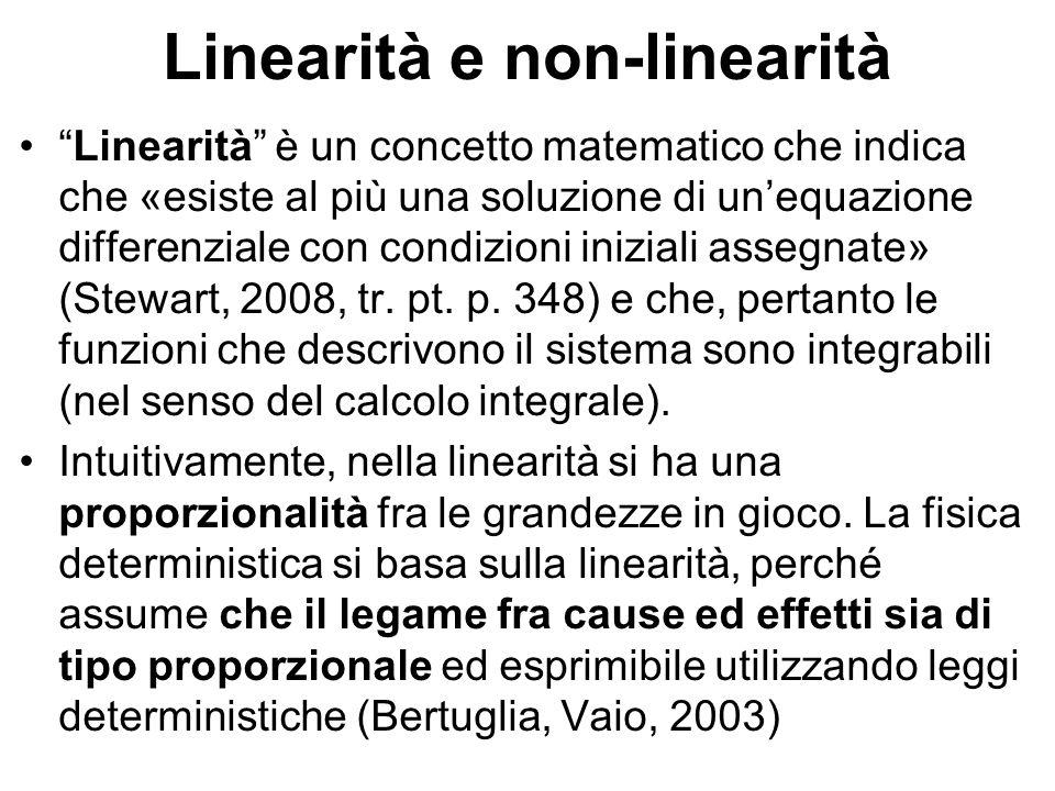 """Linearità e non-linearità """"Linearità"""" è un concetto matematico che indica che «esiste al più una soluzione di un'equazione differenziale con condizion"""