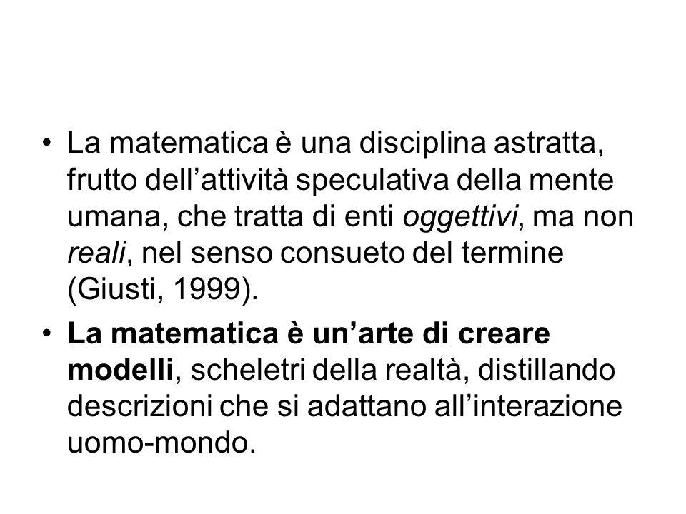 La matematica è una disciplina astratta, frutto dell'attività speculativa della mente umana, che tratta di enti oggettivi, ma non reali, nel senso con