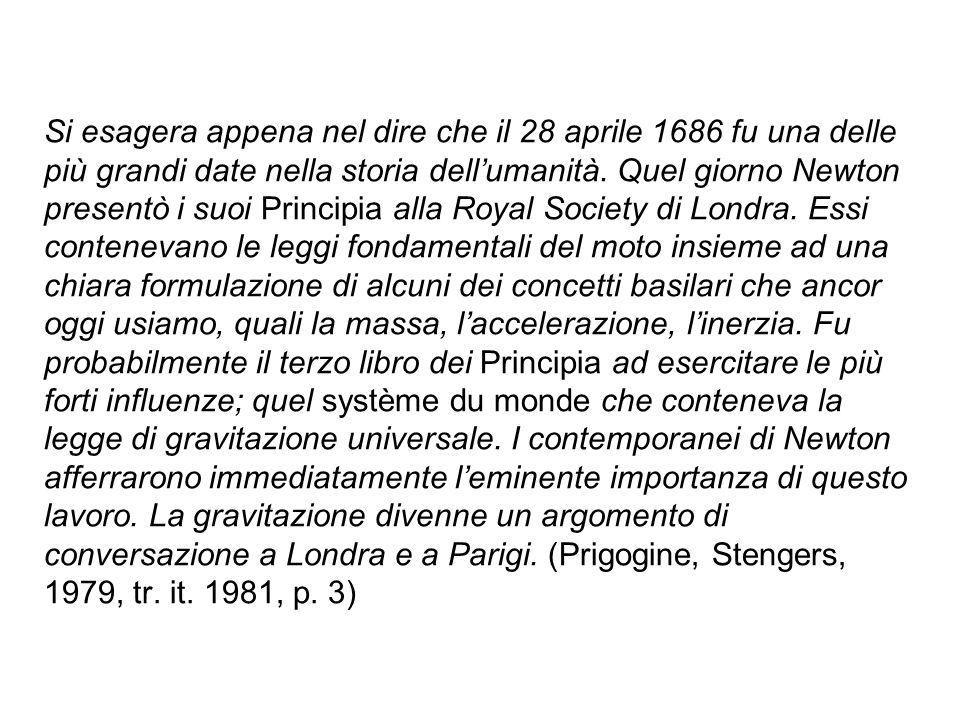 Si esagera appena nel dire che il 28 aprile 1686 fu una delle più grandi date nella storia dell'umanità. Quel giorno Newton presentò i suoi Principia