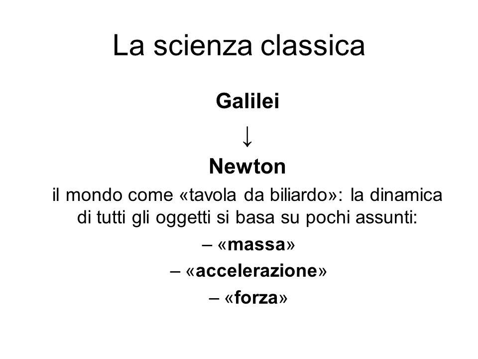 La scienza classica Galilei ↓ Newton il mondo come «tavola da biliardo»: la dinamica di tutti gli oggetti si basa su pochi assunti: –«massa» –«acceler
