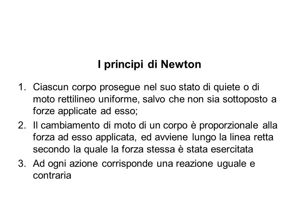 I principi di Newton 1.Ciascun corpo prosegue nel suo stato di quiete o di moto rettilineo uniforme, salvo che non sia sottoposto a forze applicate ad