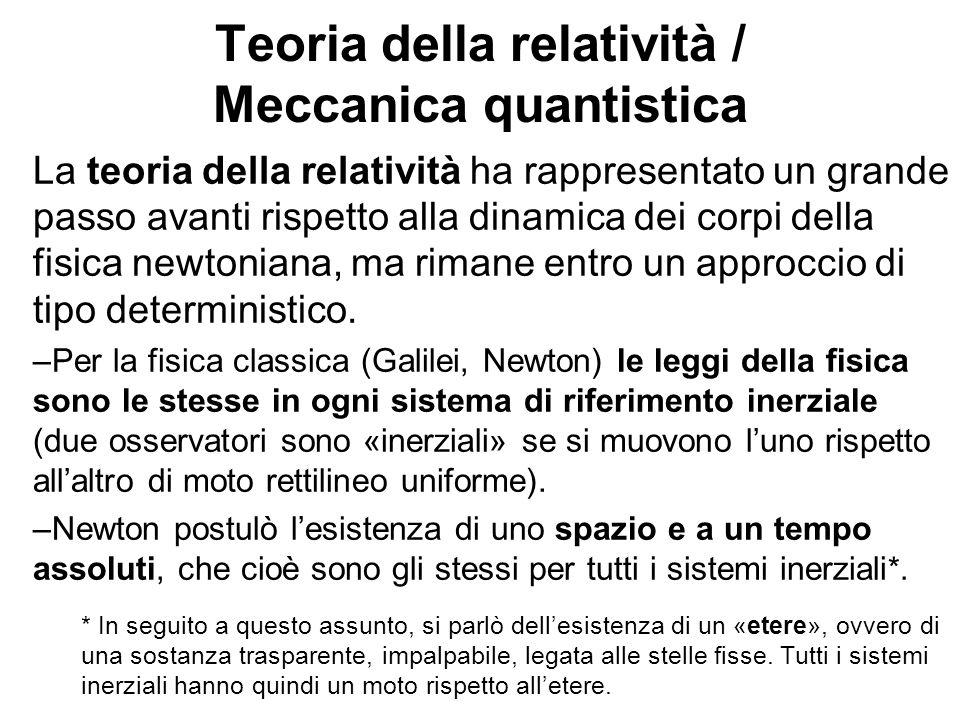 Teoria della relatività / Meccanica quantistica La teoria della relatività ha rappresentato un grande passo avanti rispetto alla dinamica dei corpi de