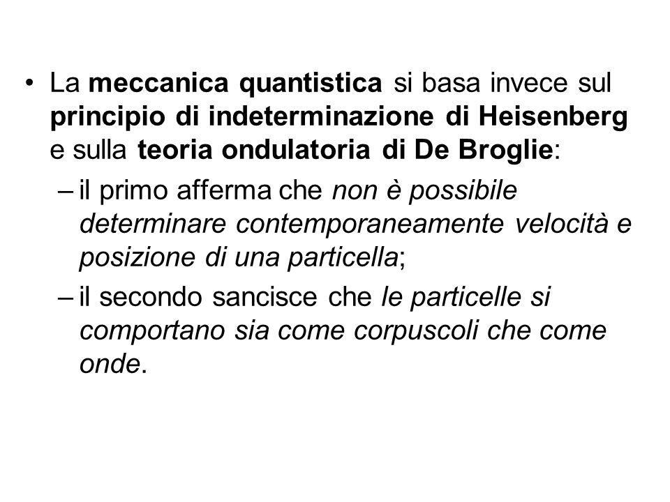 La meccanica quantistica si basa invece sul principio di indeterminazione di Heisenberg e sulla teoria ondulatoria di De Broglie: –il primo afferma ch