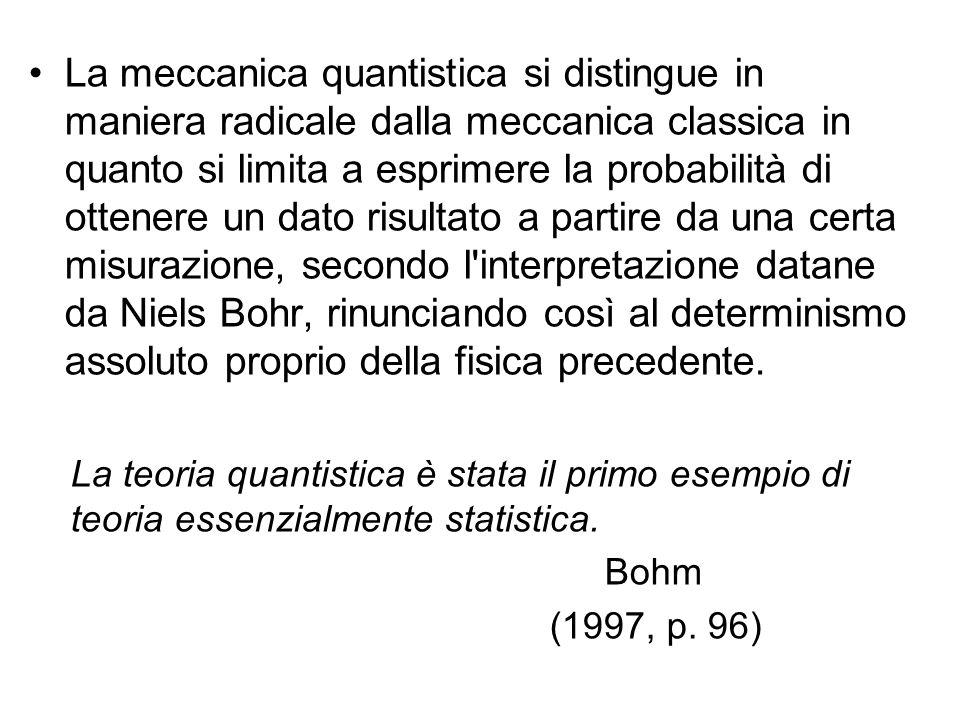 La meccanica quantistica si distingue in maniera radicale dalla meccanica classica in quanto si limita a esprimere la probabilità di ottenere un dato