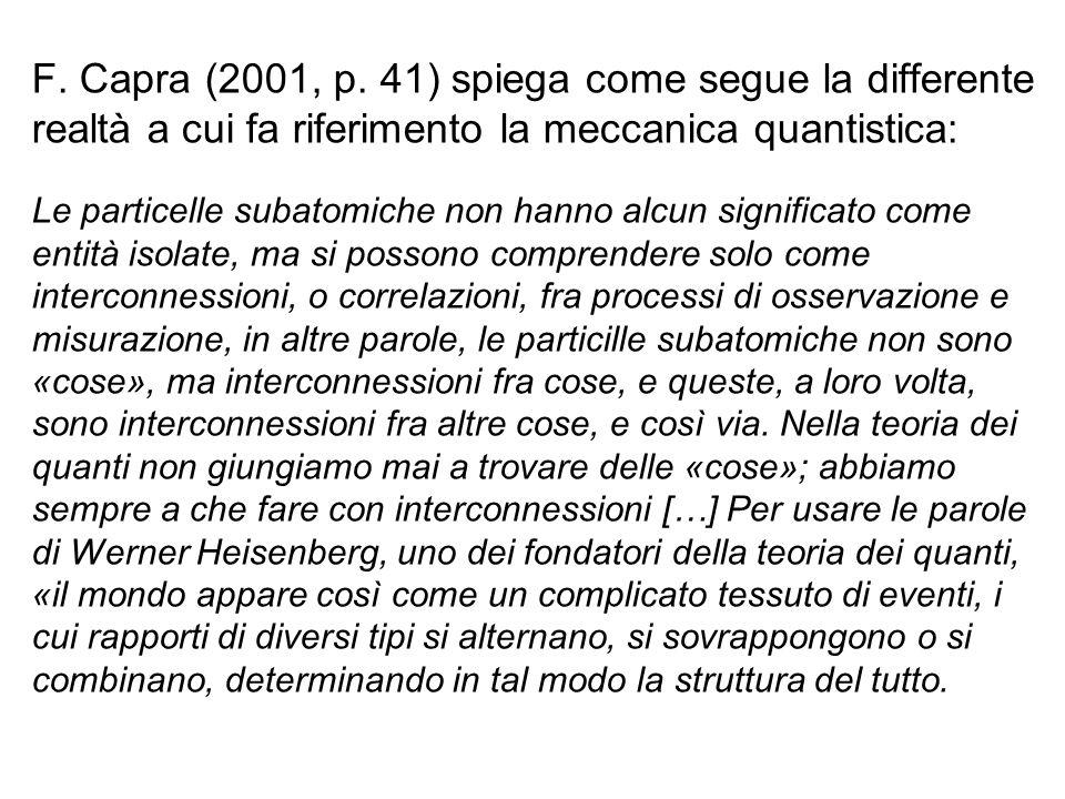 F. Capra (2001, p. 41) spiega come segue la differente realtà a cui fa riferimento la meccanica quantistica: Le particelle subatomiche non hanno alcun