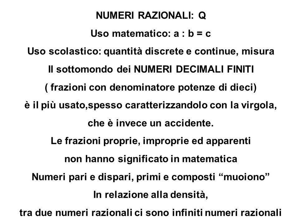 NUMERI RAZIONALI: Q Uso matematico: a : b = c Uso scolastico: quantità discrete e continue, misura Il sottomondo dei NUMERI DECIMALI FINITI ( frazioni