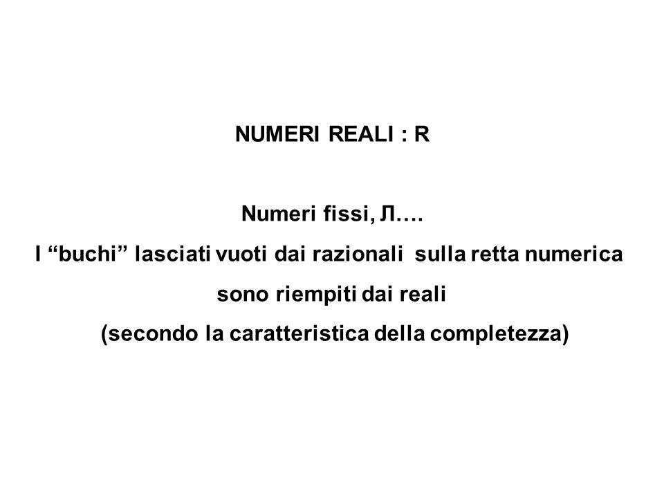 """NUMERI REALI : R Numeri fissi, Л…. I """"buchi"""" lasciati vuoti dai razionali sulla retta numerica sono riempiti dai reali (secondo la caratteristica dell"""