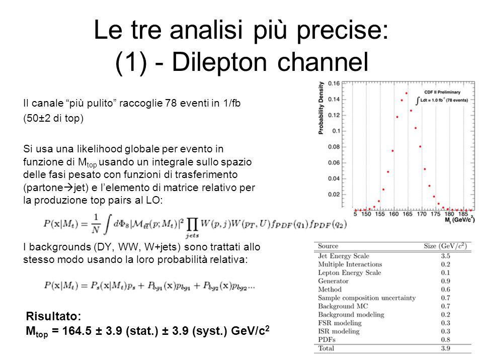 Le tre analisi più precise: (1) - Dilepton channel Il canale più pulito raccoglie 78 eventi in 1/fb (50±2 di top) Si usa una likelihood globale per evento in funzione di M top usando un integrale sullo spazio delle fasi pesato con funzioni di trasferimento (partone  jet) e l'elemento di matrice relativo per la produzione top pairs al LO: I backgrounds (DY, WW, W+jets) sono trattati allo stesso modo usando la loro probabilità relativa: Risultato: M top = 164.5 ± 3.9 (stat.) ± 3.9 (syst.) GeV/c 2