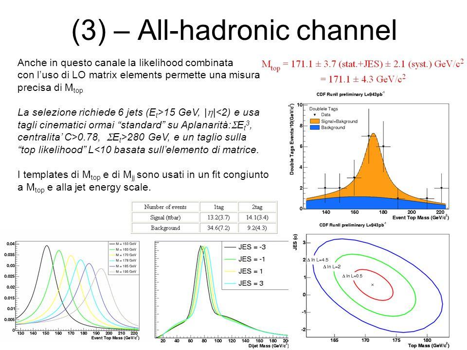 (3) – All-hadronic channel Anche in questo canale la likelihood combinata con l'uso di LO matrix elements permette una misura precisa di M top La selezione richiede 6 jets (E t >15 GeV, |  |<2) e usa tagli cinematici ormai standard su Aplanarità:  E t 3, centralita' C>0.78,  E t >280 GeV, e un taglio sulla top likelihood L<10 basata sull'elemento di matrice.
