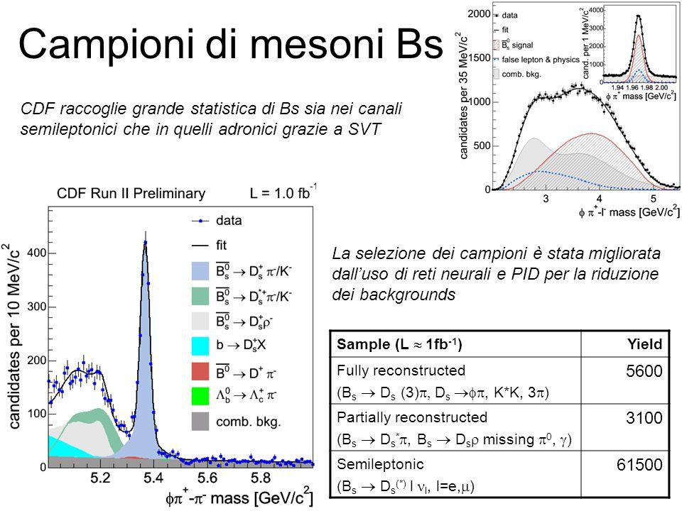 Campioni di mesoni Bs Sample (L  1fb -1 ) Yield Fully reconstructed (B s  D s (3)  D s , K*K, 3  ) 5600 Partially reconstructed (B s  D s * , B s  D s  missing  0,  ) 3100 Semileptonic (B s  D s (*) l l, l=e,  ) 61500 CDF raccoglie grande statistica di Bs sia nei canali semileptonici che in quelli adronici grazie a SVT La selezione dei campioni è stata migliorata dall'uso di reti neurali e PID per la riduzione dei backgrounds