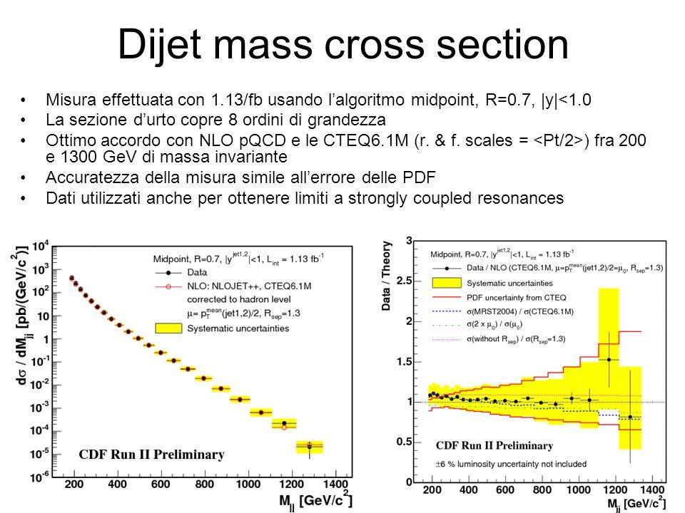 Dijet mass cross section Misura effettuata con 1.13/fb usando l'algoritmo midpoint, R=0.7, |y|<1.0 La sezione d'urto copre 8 ordini di grandezza Ottimo accordo con NLO pQCD e le CTEQ6.1M (r.