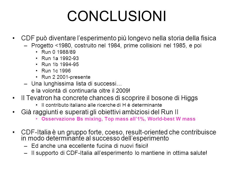 CONCLUSIONI CDF può diventare l'esperimento più longevo nella storia della fisica –Progetto <1980, costruito nel 1984, prime collisioni nel 1985, e poi Run 0 1988/89 Run 1a 1992-93 Run 1b 1994-95 Run 1c 1996 Run 2 2001-presente –Una lunghissima lista di successi… e la volontà di continuarla oltre il 2009.