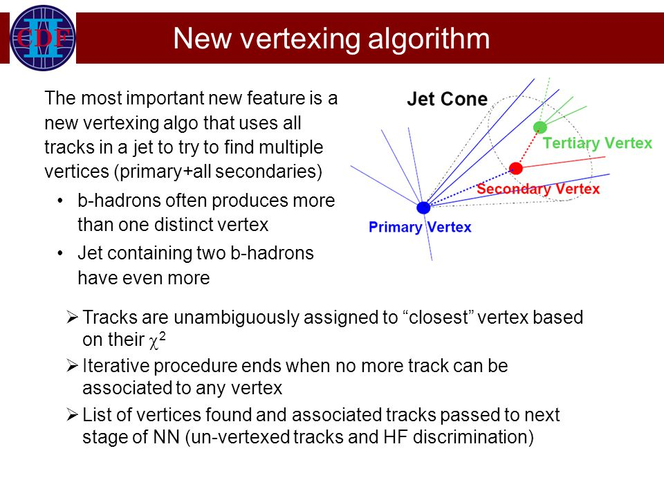 New vertexing algorithm The most important new feature is a new vertexing algo that uses all tracks in a jet to try to find multiple vertices (primary