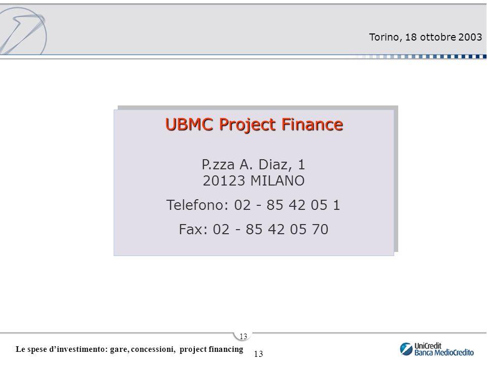 Torino, 18 ottobre 2003 13 Le spese d'investimento: gare, concessioni, project financing 13 UBMC Project Finance P.zza A.