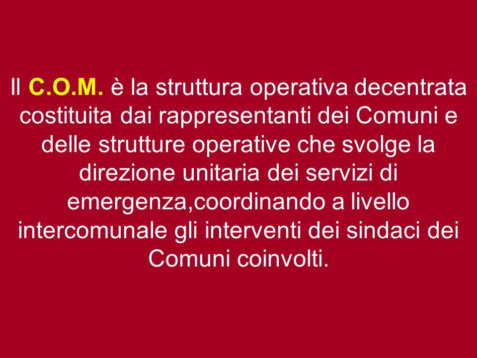 Il C.O.M. è la struttura operativa decentrata costituita dai rappresentanti dei Comuni e delle strutture operative che svolge la direzione unitaria de