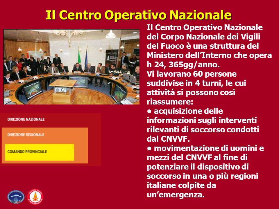 Il Centro Operativo Nazionale Il Centro Operativo Nazionale del Corpo Nazionale dei Vigili del Fuoco è una struttura del Ministero dell'Interno che op