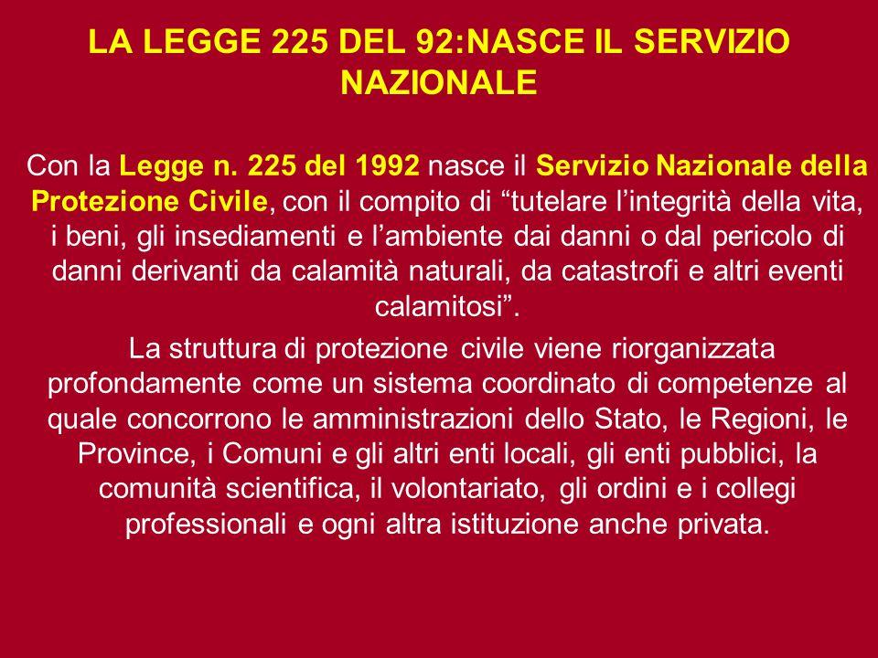 """LA LEGGE 225 DEL 92:NASCE IL SERVIZIO NAZIONALE Con la Legge n. 225 del 1992 nasce il Servizio Nazionale della Protezione Civile, con il compito di """"t"""