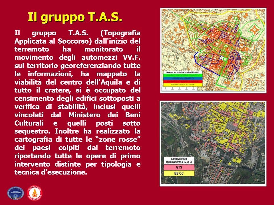 Il gruppo T.A.S. (Topografia Applicata al Soccorso) dall'inizio del terremoto ha monitorato il movimento degli automezzi VV.F. sul territorio georefer