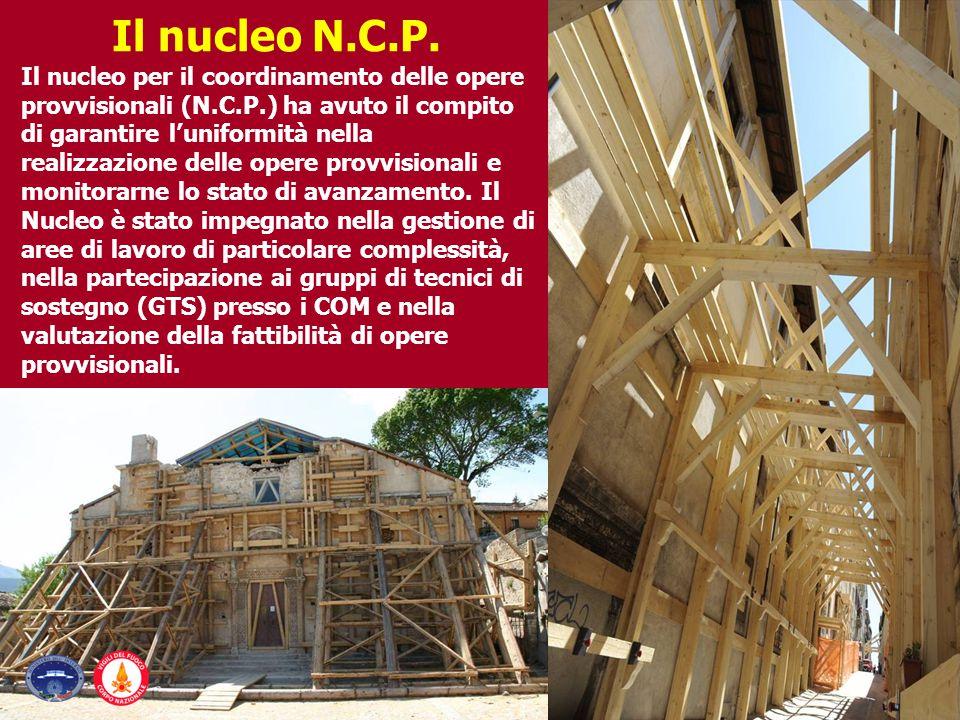 Il nucleo per il coordinamento delle opere provvisionali (N.C.P.) ha avuto il compito di garantire l'uniformità nella realizzazione delle opere provvi
