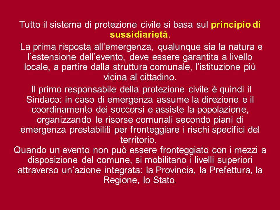 Tutto il sistema di protezione civile si basa sul principio di sussidiarietà. La prima risposta all'emergenza, qualunque sia la natura e l'estensione