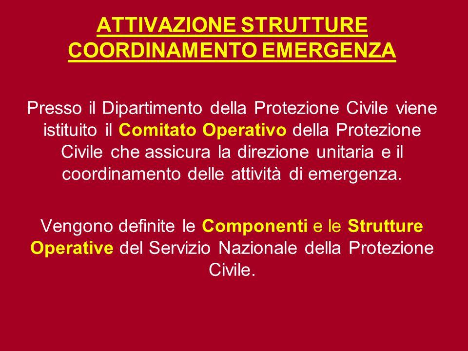 ATTIVAZIONE STRUTTURE COORDINAMENTO EMERGENZA Presso il Dipartimento della Protezione Civile viene istituito il Comitato Operativo della Protezione Ci