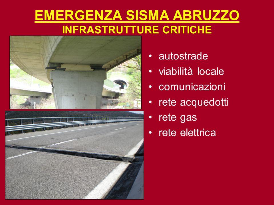 EMERGENZA SISMA ABRUZZO INFRASTRUTTURE CRITICHE autostrade viabilità locale comunicazioni rete acquedotti rete gas rete elettrica