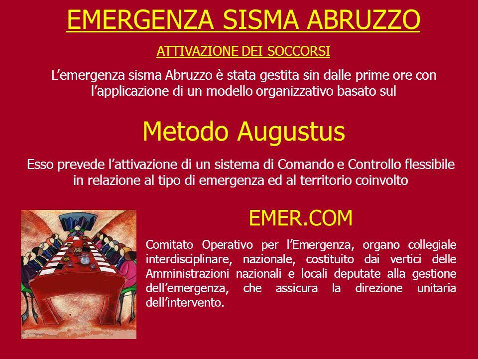 EMERGENZA SISMA ABRUZZO ATTIVAZIONE DEI SOCCORSI L'emergenza sisma Abruzzo è stata gestita sin dalle prime ore con l'applicazione di un modello organi