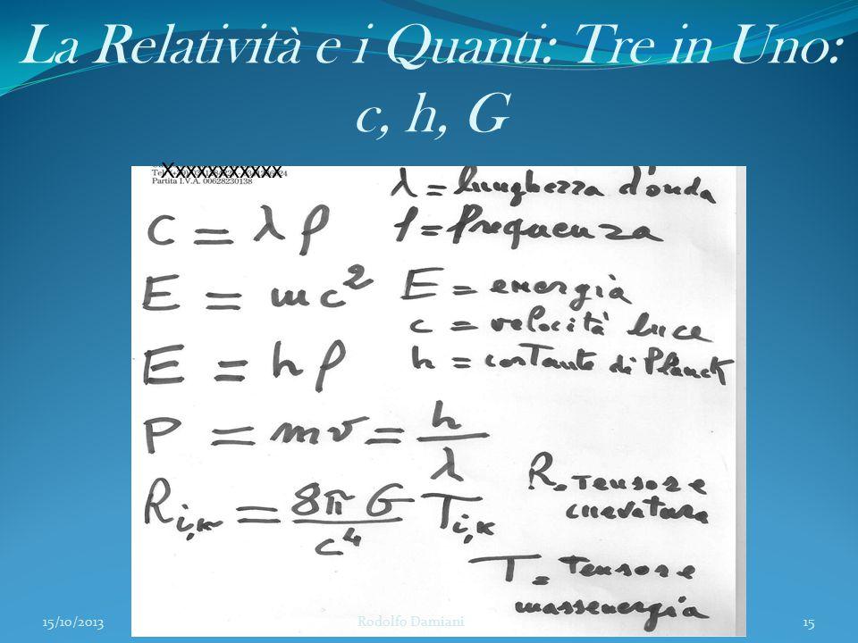 La Relatività e i Quanti: Tre in Uno: c, h, G 15/10/2013 Rodolfo Damiani15 Xxxxxxxxxxx