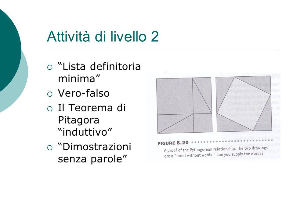"""Attività di livello 2  """"Lista definitoria minima""""  Vero-falso  Il Teorema di Pitagora """"induttivo""""  """"Dimostrazioni senza parole"""""""