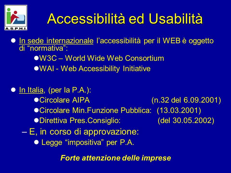 Accessibilità ed Usabilità In sede internazionale l'accessibilità per il WEB è oggetto di normativa : W3C – World Wide Web Consortium WAI - Web Accessibility Initiative In Italia, (per la P.A.): Circolare AIPA (n.32 del 6.09.2001) Circolare Min.Funzione Pubblica: (13.03.2001) Direttiva Pres.Consiglio: (del 30.05.2002) –E, in corso di approvazione: Legge impositiva per P.A.
