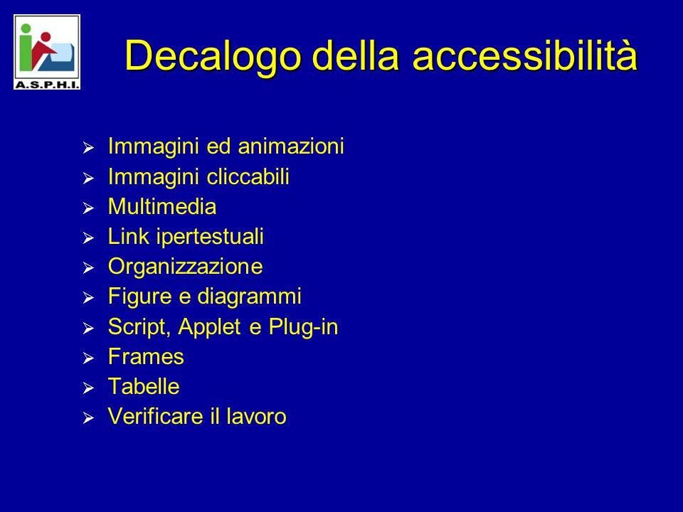 Decalogo della accessibilità  Immagini ed animazioni  Immagini cliccabili  Multimedia  Link ipertestuali  Organizzazione  Figure e diagrammi  Script, Applet e Plug-in  Frames  Tabelle  Verificare il lavoro