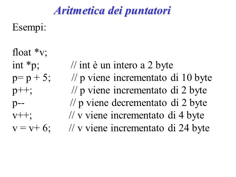 Aritmetica dei puntatori Esempi: float *v; int *p; // int è un intero a 2 byte p= p + 5; // p viene incrementato di 10 byte p++; // p viene incrementato di 2 byte p-- // p viene decrementato di 2 byte v++; // v viene incrementato di 4 byte v = v+ 6; // v viene incrementato di 24 byte