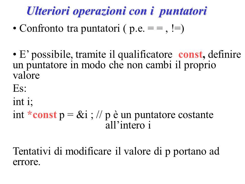 Ulteriori operazioni con i puntatori Confronto tra puntatori ( p.e.