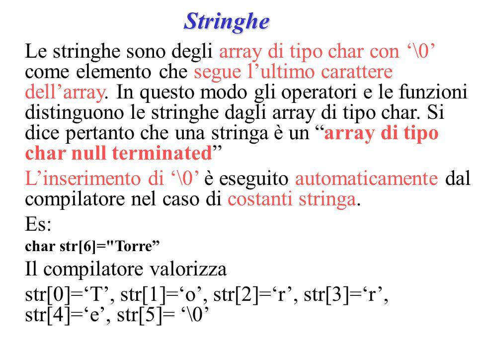 Stringhe Le stringhe sono degli array di tipo char con '\0' come elemento che segue l'ultimo carattere dell'array.