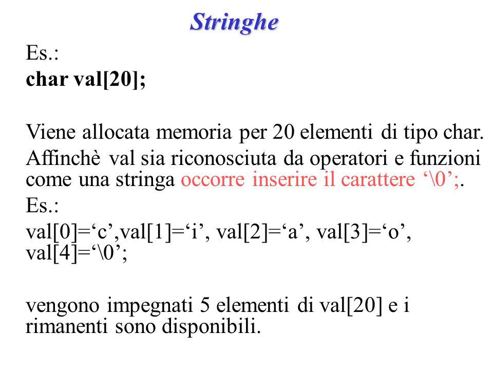 Stringhe Es.: char val[20]; Viene allocata memoria per 20 elementi di tipo char.