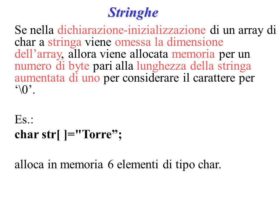 Stringhe Se nella dichiarazione-inizializzazione di un array di char a stringa viene omessa la dimensione dell'array, allora viene allocata memoria per un numero di byte pari alla lunghezza della stringa aumentata di uno per considerare il carattere per '\0'.
