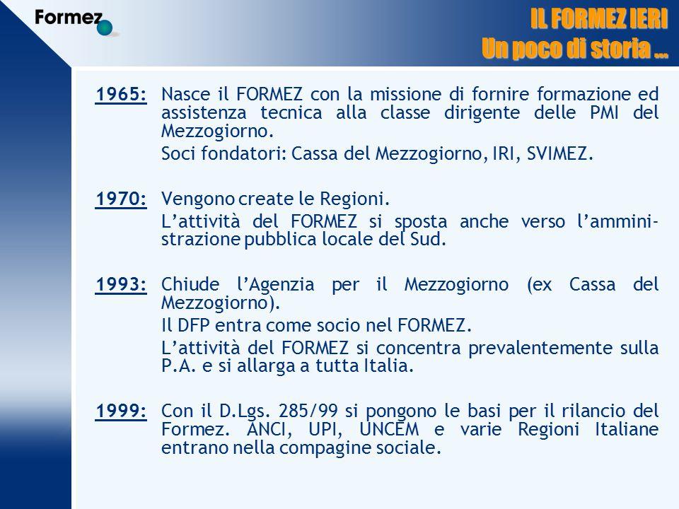 IL FORMEZ IERI Un poco di storia … 1965:Nasce il FORMEZ con la missione di fornire formazione ed assistenza tecnica alla classe dirigente delle PMI del Mezzogiorno.