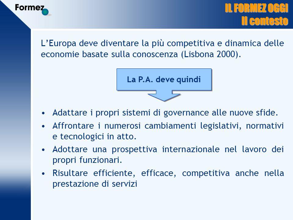 IL FORMEZ OGGI Il contesto L'Europa deve diventare la più competitiva e dinamica delle economie basate sulla conoscenza (Lisbona 2000).