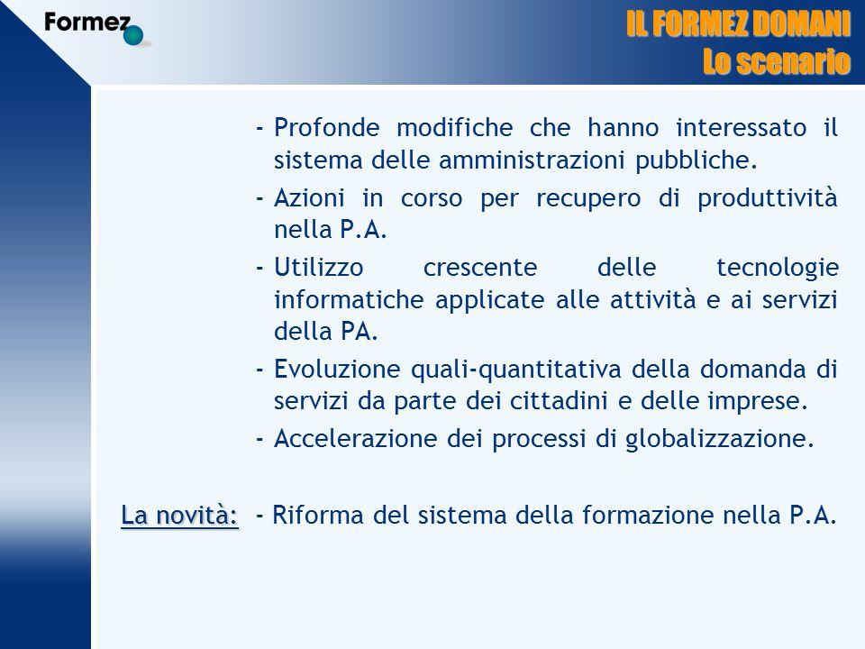 IL FORMEZ DOMANI Lo scenario -Profonde modifiche che hanno interessato il sistema delle amministrazioni pubbliche.