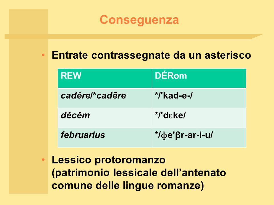 Conseguenza Entrate contrassegnate da un asterisco Lessico protoromanzo (patrimonio lessicale dell'antenato comune delle lingue romanze) REWDÉRom cadĕre/*cadēre*/ kad-e-/ dĕcĕm */ d ɛ ke/ februarius */ ɸ e βr-ar-i-u/