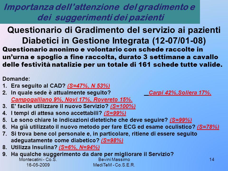 Montecatini - Co.S. 16-05-2009 Bevini Massimo MediTeM - Co.S.E.R. 14 Questionario di Gradimento del servizio ai pazienti Diabetici in Gestione Integra