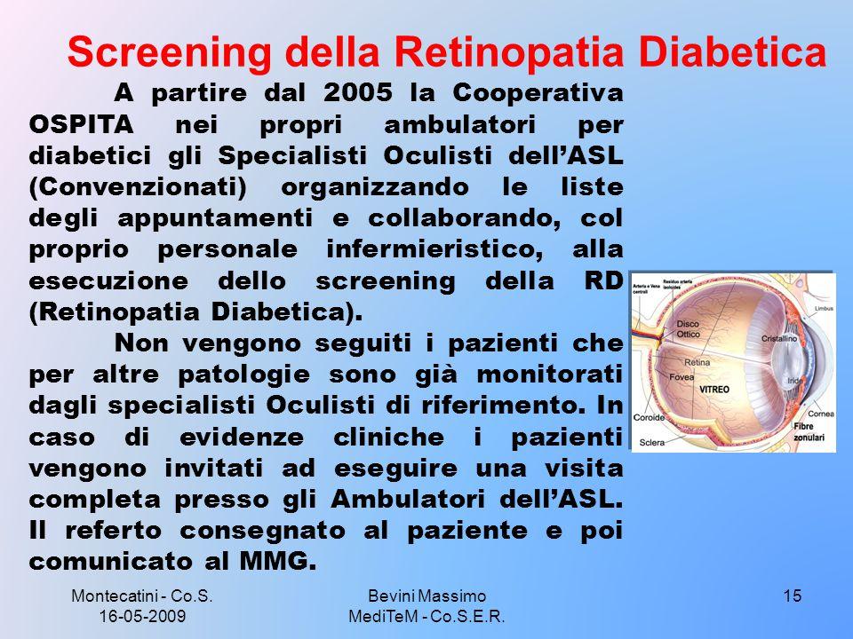 Montecatini - Co.S. 16-05-2009 15 Screening della Retinopatia Diabetica Bevini Massimo MediTeM - Co.S.E.R. A partire dal 2005 la Cooperativa OSPITA ne