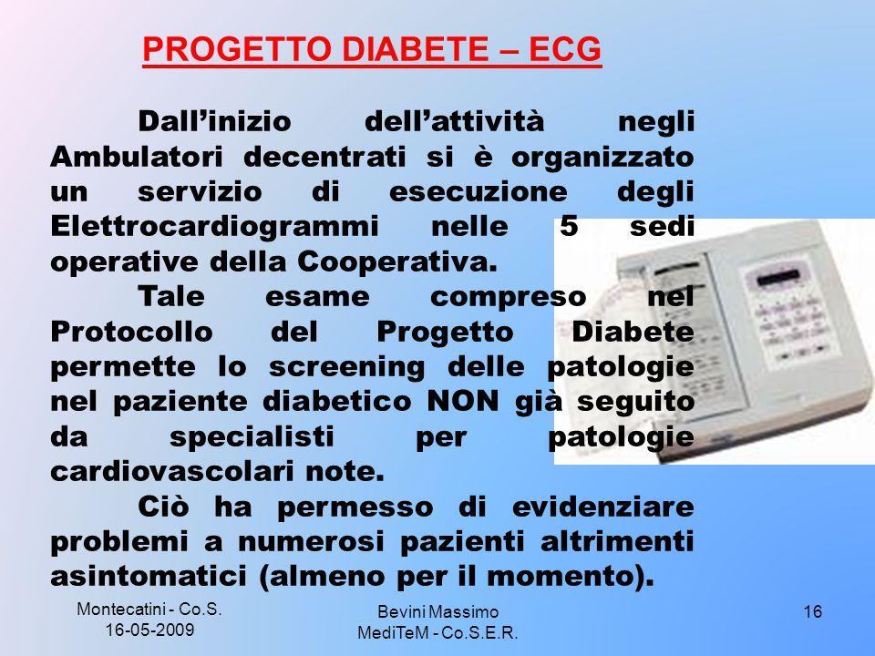 Montecatini - Co.S. 16-05-2009 16 PROGETTO DIABETE – ECG Dall'inizio dell'attività negli Ambulatori decentrati si è organizzato un servizio di esecuzi
