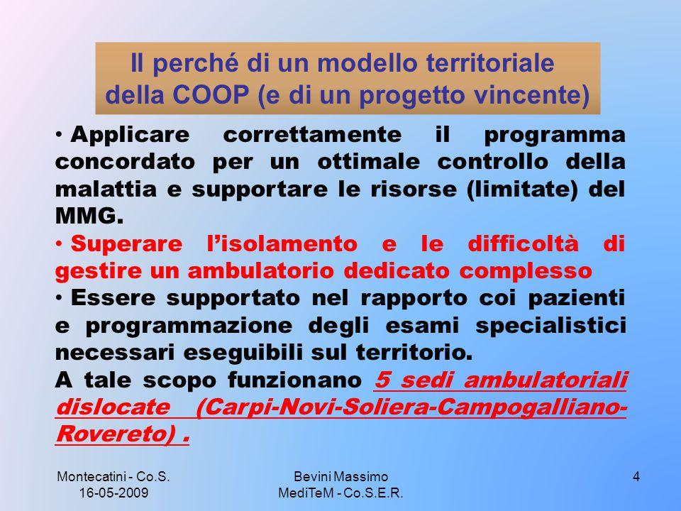 Montecatini - Co.S. 16-05-2009 Bevini Massimo MediTeM - Co.S.E.R. 4 Il perché di un modello territoriale della COOP (e di un progetto vincente) Applic