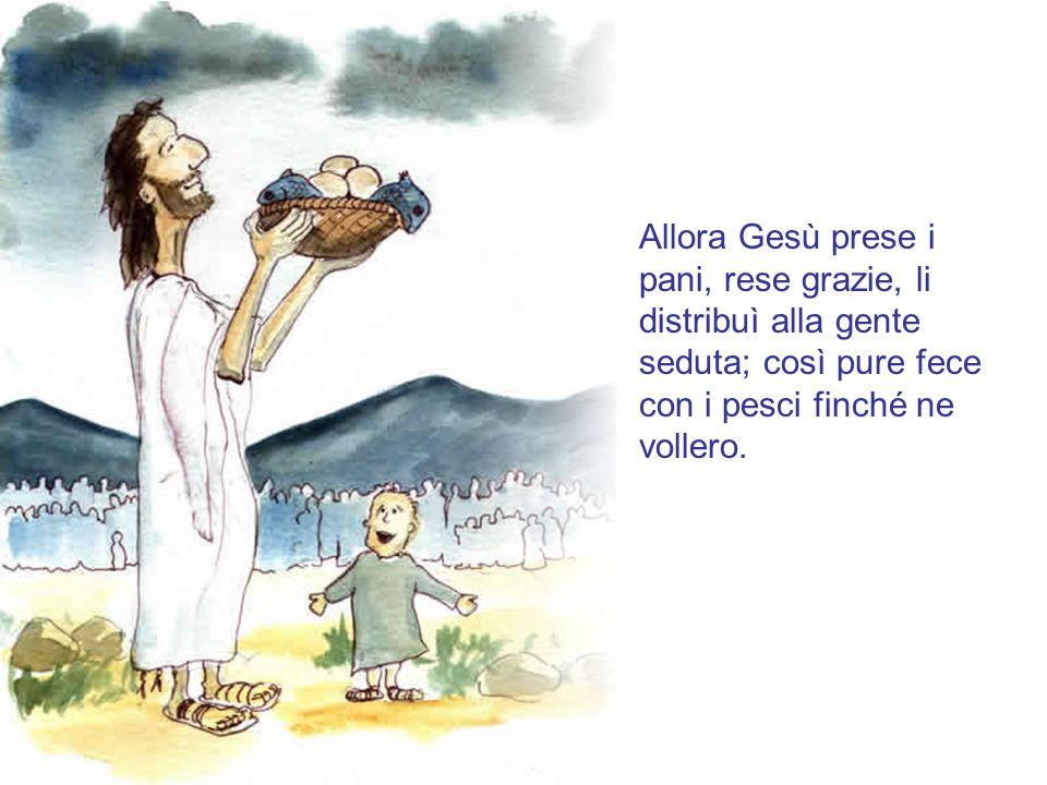 """""""C'è qui un ragazzo che ha cinque pani d'orzo e due pesci; ma che è questo per tanta gente?"""" Gesù disse: """"Fateli sedere"""". Si sedettero tutti ed erano"""
