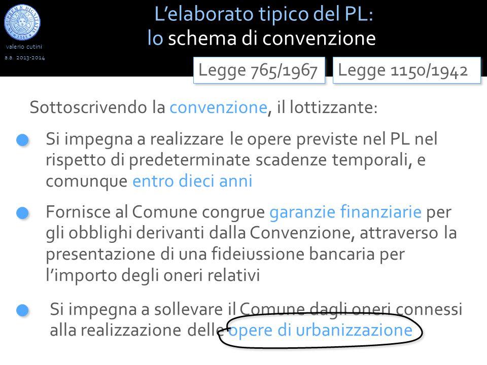valerio cutini L'elaborato tipico del PL: lo schema di convenzione a.a. 2013-2014 Si impegna a realizzare le opere previste nel PL nel rispetto di pre
